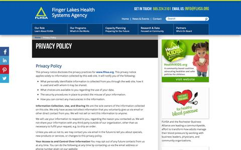 Screenshot of Privacy Page flhsa.org - Privacy Policy - Finger Lakes Health Systems Agency - captured Oct. 6, 2014