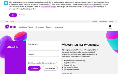 Screenshot of Login Page telia.se - Login - Mybusiness - Företag - Telia.se - captured Aug. 15, 2019