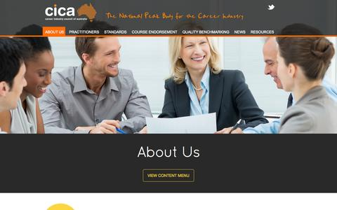 Screenshot of About Page cica.org.au - About Us | Career Industry Council of Australia (CICA) - captured Oct. 1, 2014