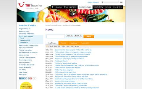Screenshot of Press Page tuitravelplc.com - News | TUI Travel PLC - captured Sept. 24, 2014