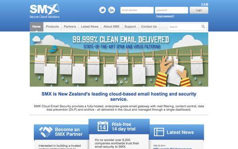 Screenshot of Home Page smxemail.com - SaaS Cloud email security Email antivirus protection - SMX - captured Oct. 10, 2014