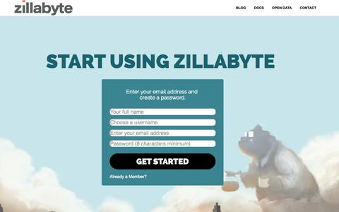 Screenshot of Signup Page zillabyte.com - Zillabyte Login - captured Dec. 17, 2014