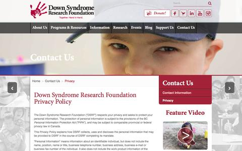 Screenshot of Privacy Page dsrf.org - Down Syndrome Research Foundation Privacy Policy - captured Nov. 24, 2016
