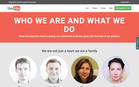Screenshot of About Page userecho.com - UserEcho: Our team - captured Sept. 22, 2018
