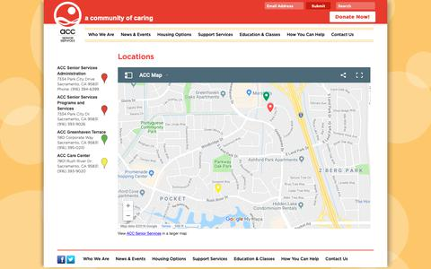 Screenshot of Locations Page accsv.org - The location of the ACC Senior Services Center - captured Oct. 2, 2018
