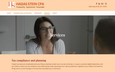Screenshot of Services Page hadassteincpa.com - Services - Hadas Stein CPA, Inc. - captured Nov. 9, 2018