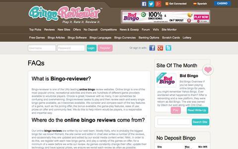 Screenshot of FAQ Page bingoreviewer.co.uk - FAQs   Bingo Reviewer - captured Aug. 2, 2018