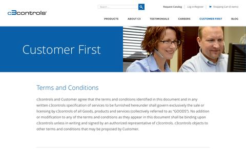 Screenshot of Terms Page c3controls.com - Terms and Conditions - CUSTOMER FIRST - c3controls - captured July 18, 2016
