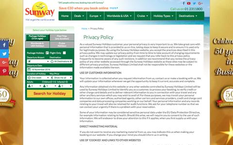 Screenshot of Privacy Page sunway.ie - Privacy Policy | Sunway.ie - captured Nov. 18, 2016
