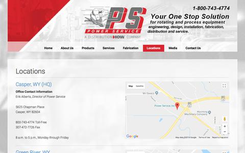 Screenshot of Locations Page powerserviceinc.com - Locations - captured July 21, 2018