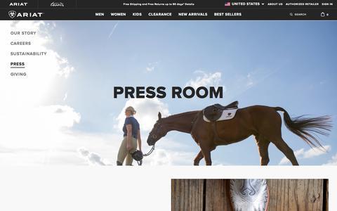 Screenshot of Press Page ariat.com - Press Room | Ariat - captured Nov. 15, 2019