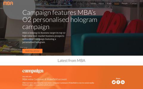 Screenshot of Press Page mba.co.uk - MBA: Latest News - captured July 24, 2018