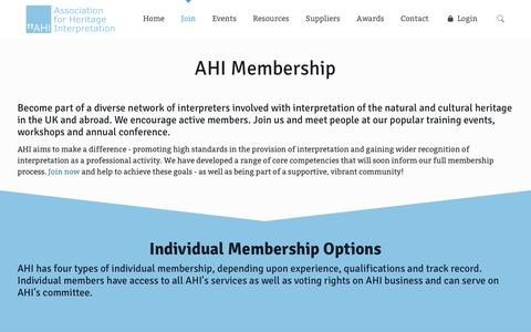 Screenshot of Signup Page ahi.org.uk - Join - AHI - captured Oct. 4, 2018