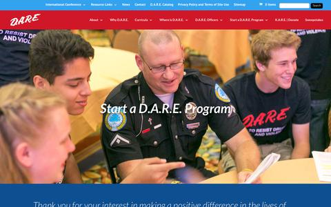 Screenshot of FAQ Page dare.org - Start a D.A.R.E. Program | D.A.R.E. America - captured Oct. 7, 2018