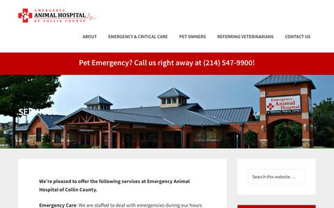 Screenshot of Services Page eahcc.com - Plano Animal Emergency Hospital Services - captured Sept. 28, 2018