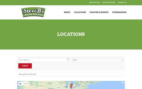 Screenshot of Locations Page stevibs.com - Locations - Stevi B's Pizza Buffet - captured Dec. 2, 2016