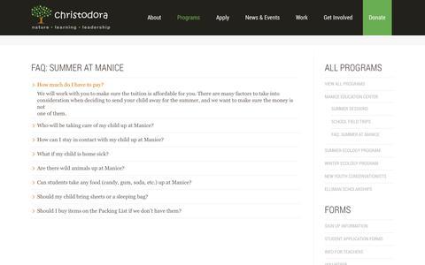 Screenshot of FAQ Page christodora.org - ChristodoraFAQ: Summer at Manice   Christodora - captured Oct. 28, 2014