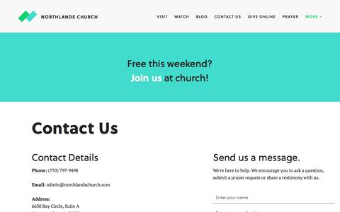 Screenshot of Contact Page northlandschurch.com - Connect |  | Northlands Church - captured July 9, 2018
