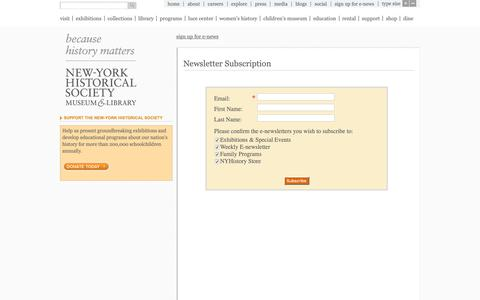 Screenshot of Signup Page nyhistory.org - New-York Historical Society | Newsletter Subscription - captured Oct. 18, 2018
