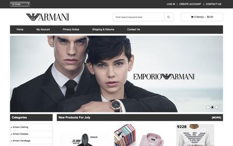 Screenshot of Home Page elevinmedia.com - Armani Shoe - Buy Clothing, Sunglasses & Bags Cheap Sale USA | Mens & Womens Buy Online - captured July 28, 2017