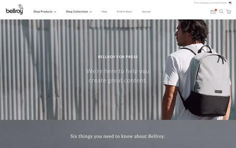 Screenshot of Press Page bellroy.com - Press Site | Editorial and PR requests | Bellroy - captured Oct. 30, 2019
