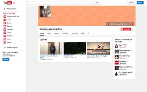 Screenshot of YouTube Page youtube.com - bikramyogabrighton  - YouTube - captured Oct. 23, 2014