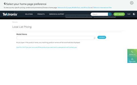 Screenshot of Pricing Page tek.com - Local List Pricing | Tektronix - captured June 1, 2016