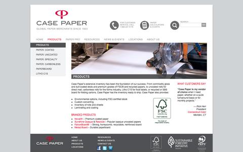 Screenshot of Products Page casepaper.com - Paper Inventory | Rolls, Sheets, Carbonless, Premium Grades | FSC Stock | Case Paper - captured July 17, 2017
