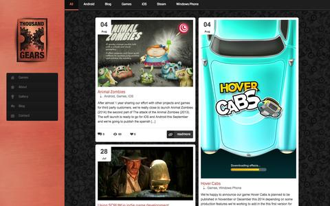 Screenshot of Home Page thousandgears.com - Thousand Gears | Switch on your dreams! - captured Oct. 9, 2014