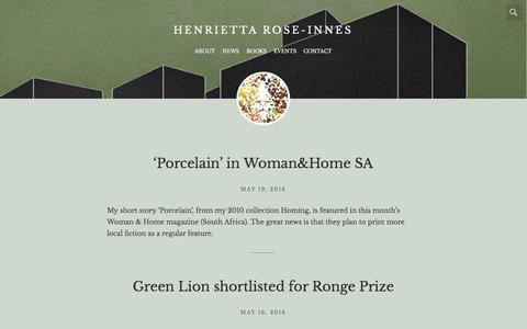 Screenshot of Press Page henriettarose-innes.com - news – Henrietta Rose-Innes - captured May 23, 2016