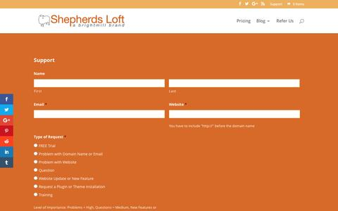 Screenshot of Support Page shepherdsloft.com - Support | WordPress Management - captured Dec. 21, 2016
