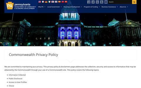 Screenshot of Privacy Page pa.gov - Commonwealth Privacy Policy - PA Department of Community & Economic Development - captured Sept. 27, 2018