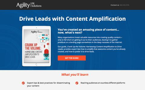 Screenshot of Landing Page agilitypr.com - Harnessing Content Amplification to Drive Leads - captured Sept. 23, 2017