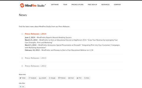 Screenshot of Press Page mindfirestudio.com - News | MindFire Studio Blog - captured Oct. 7, 2014