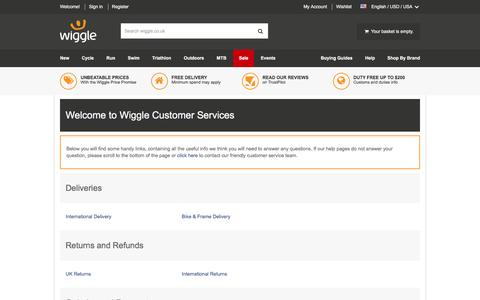 Screenshot of Contact Page wiggle.co.uk - Wiggle Customer Services - captured Jan. 13, 2016