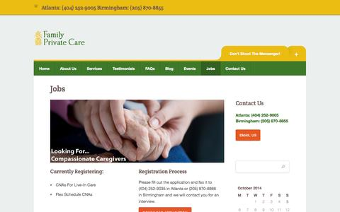 Screenshot of Jobs Page familyprivatecarellc.com - Job Opportunities at Family Private Care, LLC | Family Private Care - captured Oct. 5, 2014