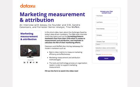 Screenshot of Landing Page dataxu.com - Marketing Measurement & Attribution | dataxu and Forrester Video - captured April 26, 2018