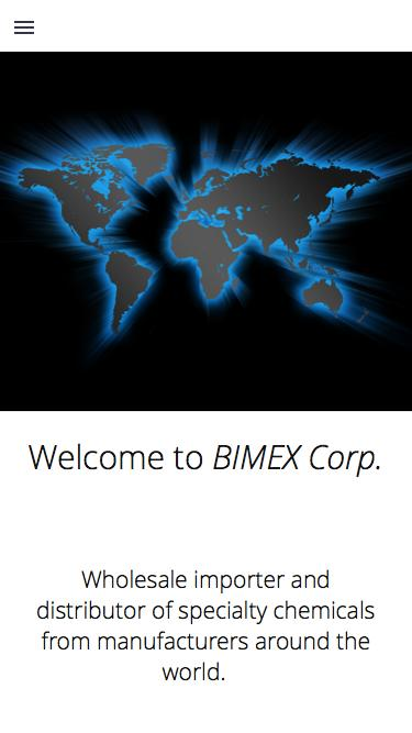 Screenshot of Home Page  bimexcorp.com - BIMEX Corp.