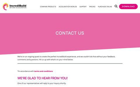 Screenshot of Contact Page incredibuild.com - Contact Us | IncrediBuild - captured Oct. 11, 2018