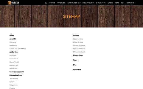 Screenshot of Site Map Page dhruva.com - Game Art Development | Mobile Game Development Outsourcing | 3D Game Art Outsourcing Company | Video Game Outsourcing in India - Dhruva Interactive - captured Dec. 14, 2017