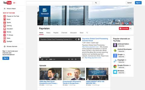 Screenshot of YouTube Page youtube.com - Payvision  - YouTube - captured Oct. 22, 2014