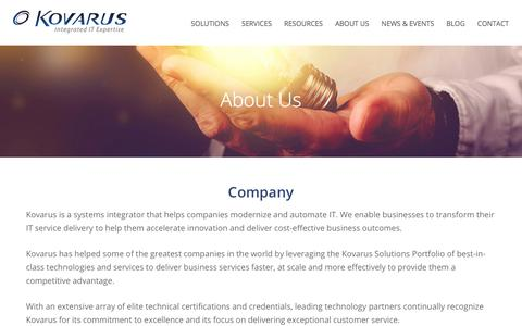 Screenshot of About Page kovarus.com - Company Page for Kovarus and Leadership - captured Aug. 16, 2019