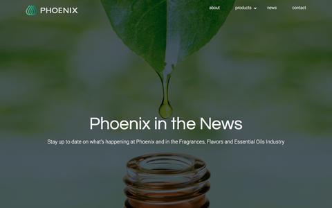 Screenshot of Press Page phoenixaromas.com - Phoenix - News and Updates - captured Sept. 11, 2019