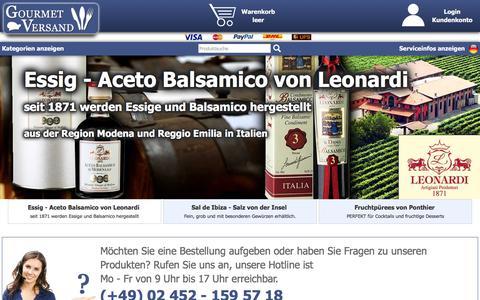 Screenshot of Home Page gourmet-versand.com - GOURMET VERSAND | Lebensmittel und Feinkost online kaufen - captured June 14, 2018