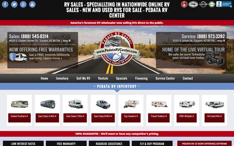 Screenshot of Home Page pedatarvcenter.com - RV Sales - Specializing in Nationwide Online RV Sales - New and Used RVs For Sale - Pedata RV Center - Pedata RV Center Arizona - captured Dec. 7, 2015