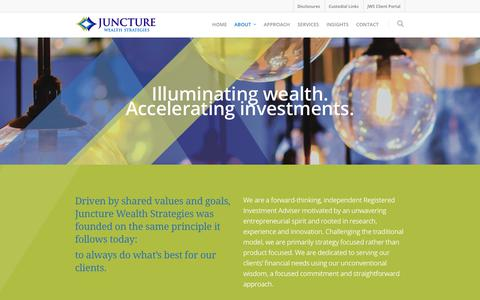 Screenshot of About Page juncturewealth.com - About    Juncture Wealth Strategies - captured Oct. 14, 2018