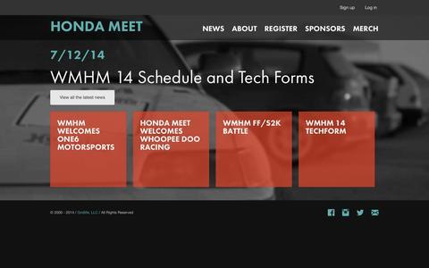 Screenshot of Home Page hondameet.com - Honda Meet / Home - captured Oct. 6, 2014