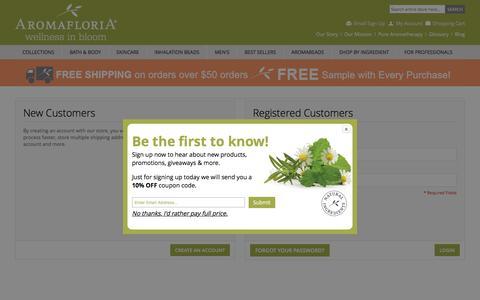 Screenshot of Login Page aromafloria.com - Customer Login - captured May 28, 2017