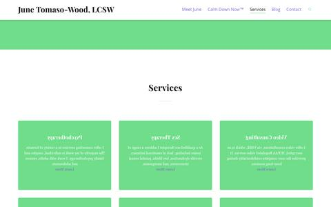 Screenshot of Services Page junetomasowood.com - Services | June Tomaso-Wood, LCSW - captured Oct. 6, 2014