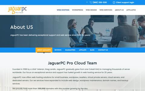 Screenshot of About Page jaguarpc.com - About JaguarPC - Website Hosting - VPS Server Hosting - captured Oct. 8, 2018